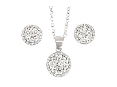 CZ Flower Halo Pendant and Earring set in 925 Sterling Silver
