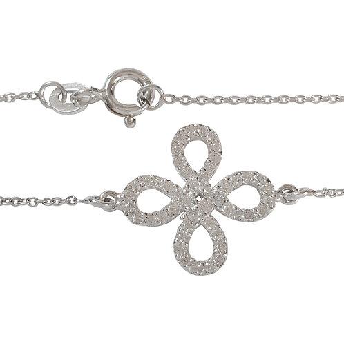 0.24ct Clear Cubic Zirconia Cross Over Loop Style Bracelet in 925 Sterling Silve