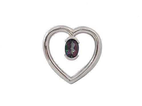 *CD DESIGNER* 0.75ct Mystic Topaz CZ Heart Pendant in Sterling Silver