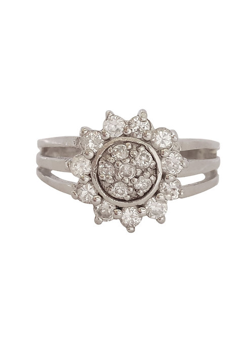 CZ Floral Design Ring in Sterling Silver