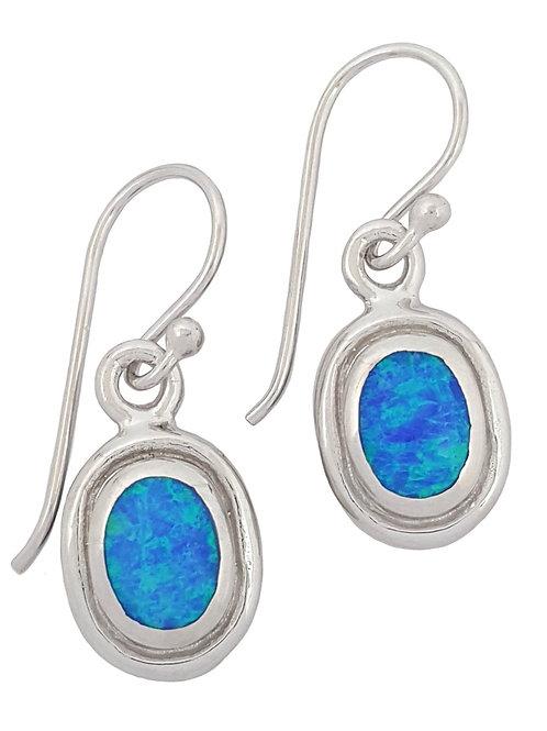 Blue Oval Shape Crushed Opal Drop Earrings in 925 Sterling Silver