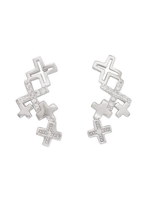 0.10ctw CZ Little Crosses Stud Earrings in 925 Sterling Silver