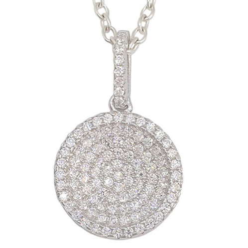 Circle of Life Encrusted Style Set CZ Pendant in 925 Sterling Silver