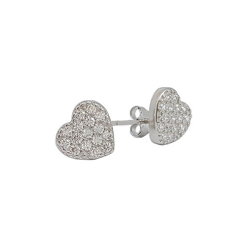 Sterling Silver Heart with CZ's Stud
