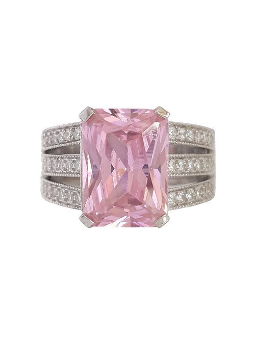 *CD DESIGNER* 15.52ctw Pink CZ Ring in Sterling Silver