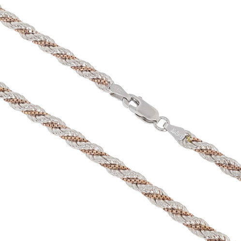 925 Sterling Silver 50cm Rope and Rose Gold Plated Box Chain