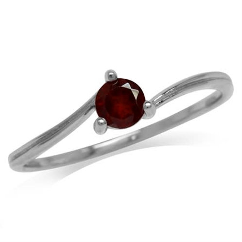 0.34ctw Natural Red Garnet Ring in 925 Sterling Silver