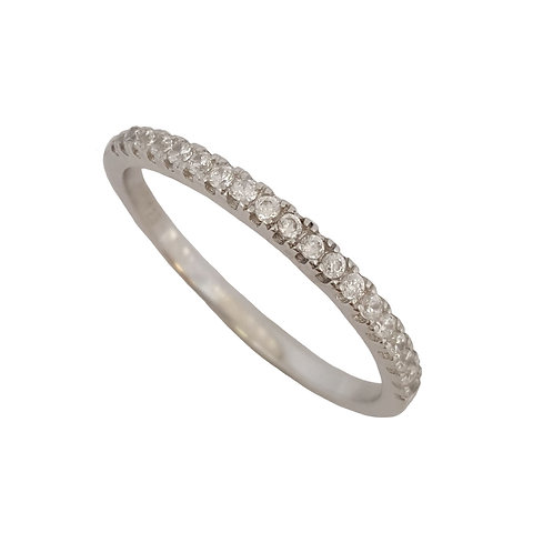 Clear Cubic Zirconia Eternity Band in 925 Sterling Silver- Size N