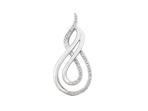 0.20ctw Diamond Double Infinity Pendant in 10ct White Gold