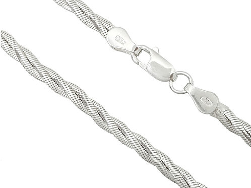 925 Sterling Silver 55cm Magic Triple Snake Style Chain