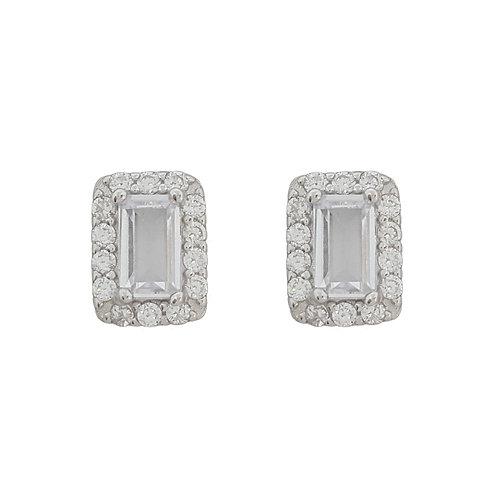 0.64ctw Emerald Cut Stud Earrings in 925 Sterling Silver