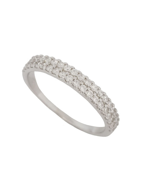 Double Row Cubic Zirconia Wedding Band in 925 Sterling Silver