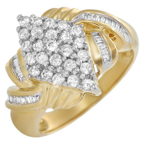 Cluster Diamond Ring in 10K Two Tone Gold- Size 4.5
