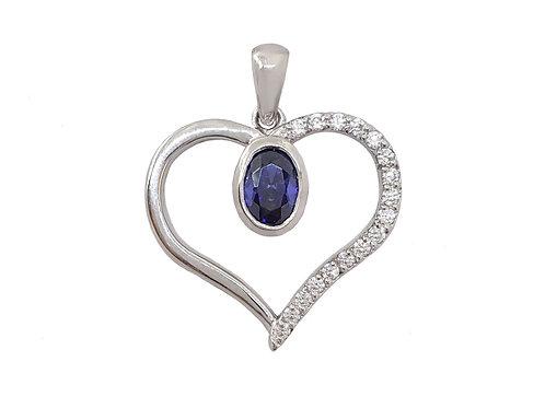 *CD DESIGNER* 1.01ct Tanzanite&Clear CZ Heart Pendant
