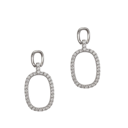 CZ Linked Hoop Stud Earring in Sterling Silver