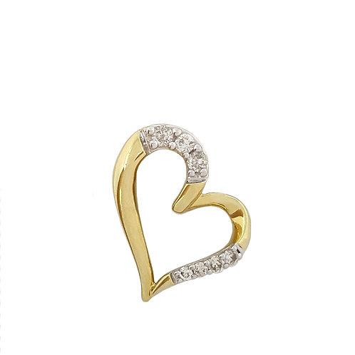 0.15ctw Diamond Heart Pendant in 10k Yellow Gold