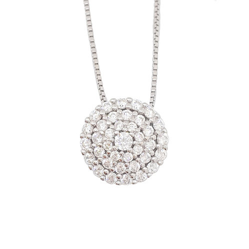 Double Halo CZ Pendant and Necklace in 925 Sterling Silver