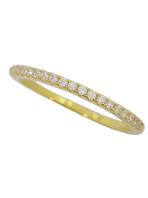 Yellow Gold Plated Half Eternity Cubic Zirconia Band -Size O