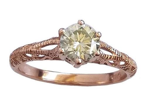 *CD DESIGNER* 0.826ct Moissanite Edwardian Inspired Ring