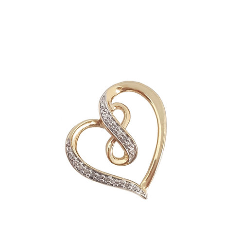 0.125ctw Diamond Heart and Infinity design Pendant in 10kt Yellow Gold