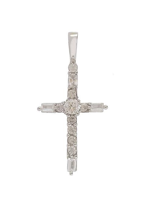 0.39ctw Cross Pendant in 925 Sterling Silver