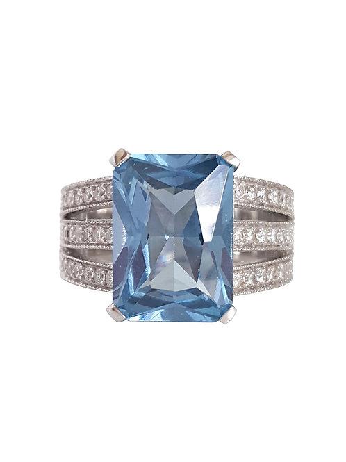 *CD DESIGNER* 15.52ctw Blue CZ Ring in Sterling Silver