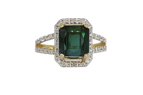 2.37ct Emerald cut Tourmaline & Diamond Ring in Yellow Gold