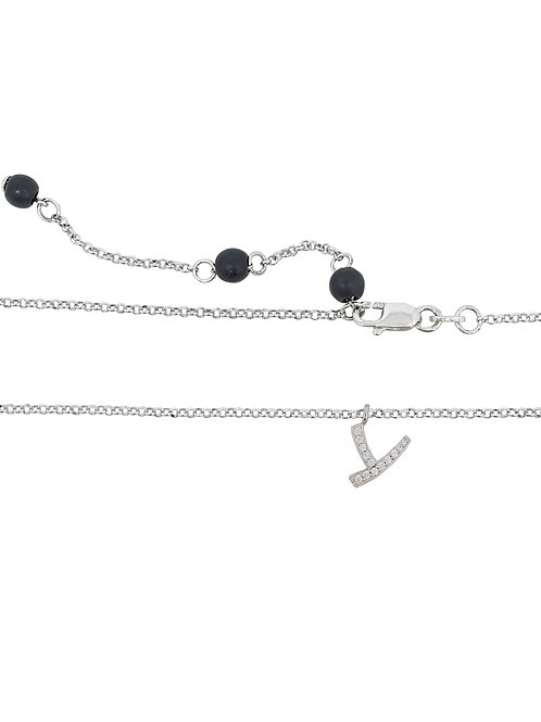 925 Sterling Silver Letter 'Y' Pendant with CZs and rolo style Necklace