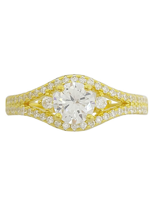 Yellow Gold Plated CZ Split Shank Detail Ring in 925 Sterling Silver