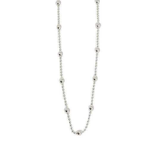 Bead and Ball Anklet in 925 Sterling Silver