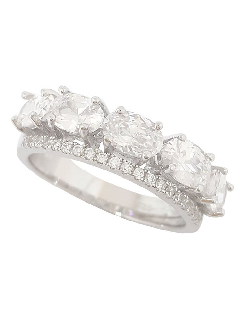Oval and Round CZ  Band in 925 Sterling Silver