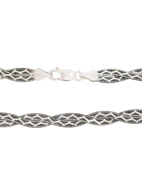 45cm 925 Sterling Silver Black Rhodium Magic Design Snake Style Chain
