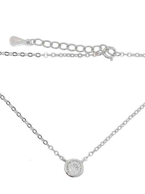 0.50ct Round Tube Pendant with 45cm Chain in 925 Sterling Silver