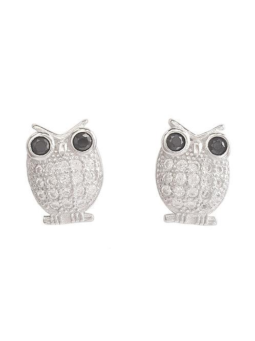 0.30ctw CZ Owl Stud Earrings in 925 Sterling Silver