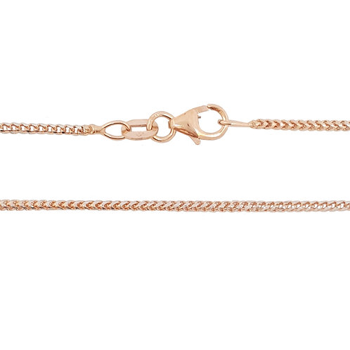 9ct Two Tone White and Rose Gold 50cm Franco Necklace