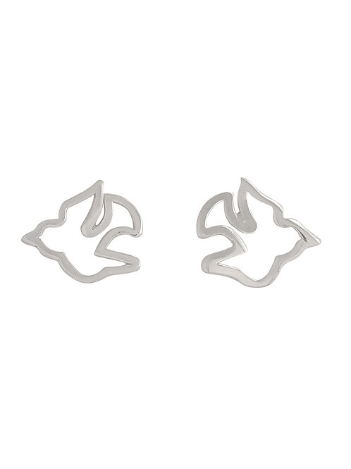 Sterling Silver Dove Bird Shaped Stud Earrings