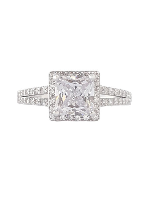 Princess Cut Split Band Style Ring in 925 Sterling Silver