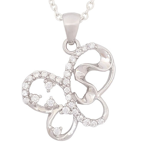 0.495ctw CZ Squiggle Shape Butterfly Pendant in 925 Sterling Silver