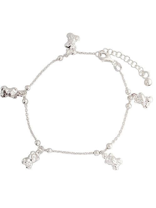 925 Sterling Silver Teddy Charm Bracelet
