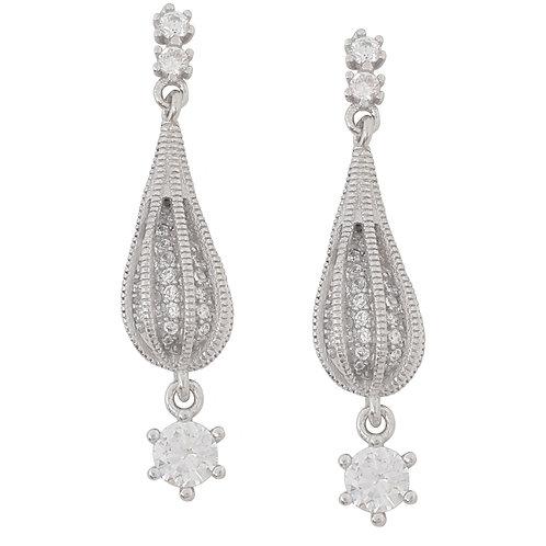 0.62ctw Clear CZ Drop Earrings in 925 Sterling Silver