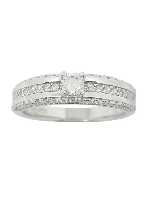 Clear CZ Channel set Ring in 925 Sterling Silver
