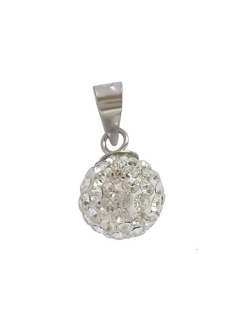 Rhinestone Crystal Ball Pendant in 925 Sterling Silver