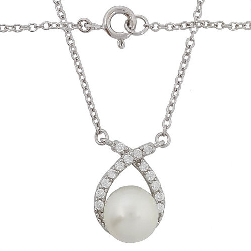 White Freshwater Pearl and CZ Pendant with Necklace in 925 Sterling Silver