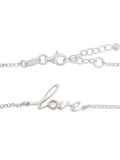 """""""Love"""" Charm with CZ Bracelet in 925 Sterling Silver"""