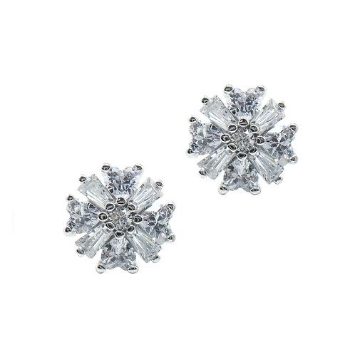 CZ Cluster Earring in Sterling Silver