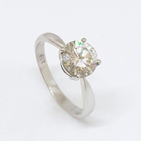 *CD DESIGNER* 1.679ct Moissanite Solitaire Ring in 9K White Gold