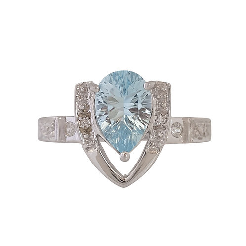 1.52ct Natural Topaz and CZ Ring in 925 Sterling Silver