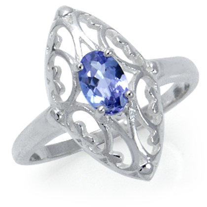 Natural Tanzanite Ring in 925 Sterling Silver