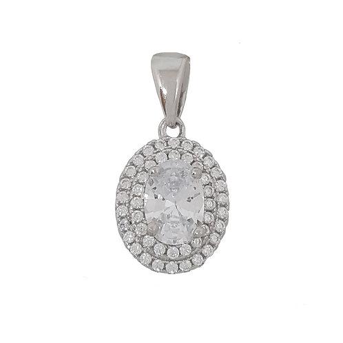 Cubic Zirconia Oval Shape Pendant in 925 Sterling Silver