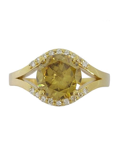 *CD DESIGNER* 1.71ct Moissanite and Diamond Ring in 9k Yellow Gold